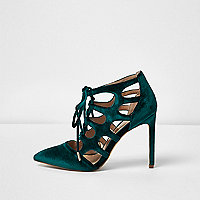 Blue velvet cut-out heels