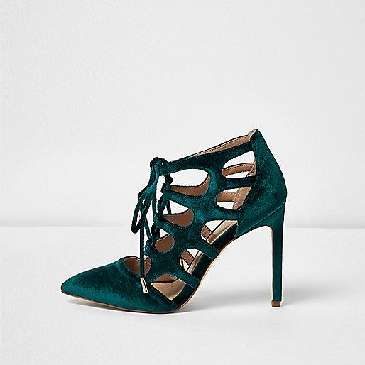 Blue velvet cut-out heels