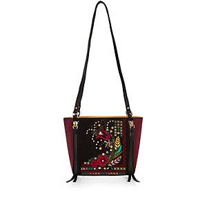 Black floral embroidered cross body handbag