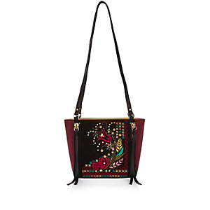 Black floral embroidered cross body handbag