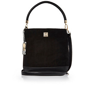 Black twist handle slouch handbag