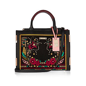 Black floral embroidered tote handbag