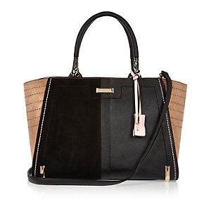 Black panel winged tote handbag