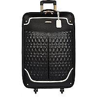 Schwarzer Koffer mit gestepptem Einsatz