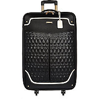 Black quilted panel suitcase