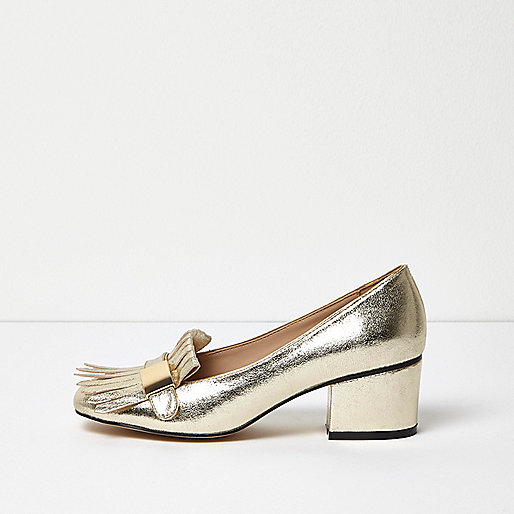 Gold tassel heeled loafers