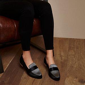 RI Studio black and grey satin loafers