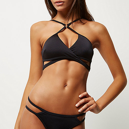 Black high apex cut-out bikini top