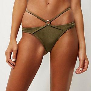 Khaki strappy bikini bottoms