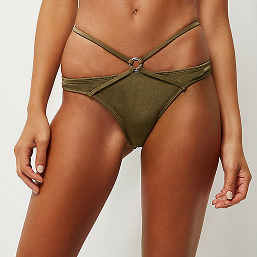 Bas de bikini kaki à lanières