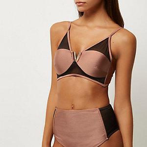 Haut de bikini marron en résille