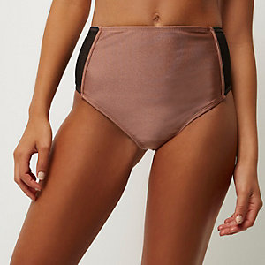 Brown mesh high rise bikini bottoms