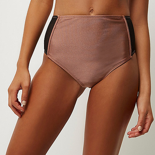 Bas de bikini en tulle marron à taille haute