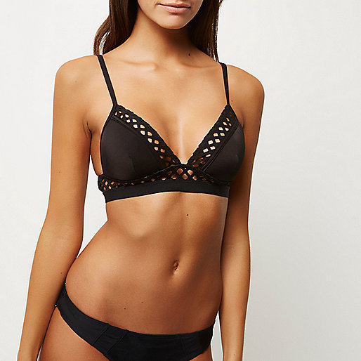 Black laser cut triangle bikini top