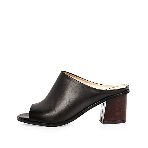 Black leather tortoise heel mules