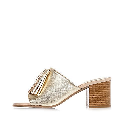 Gold leather tassel mules