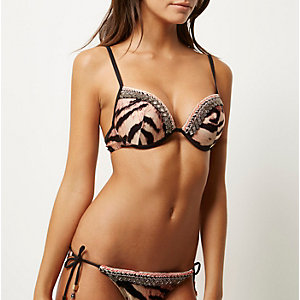 Brown tiger print plunge bikini top
