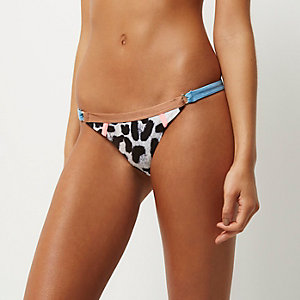 Grey leopard print ring trim bikini bottoms