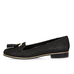 Black metallic tassel loafers