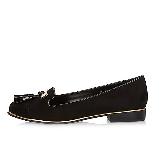 Schwarze Tassel-Loafer in Lackoptik