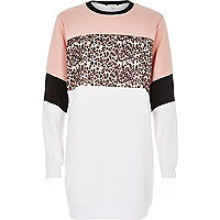 White animal block print longline sweatshirt