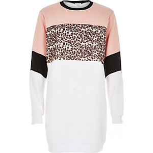 White animal block print longline sweatshirt