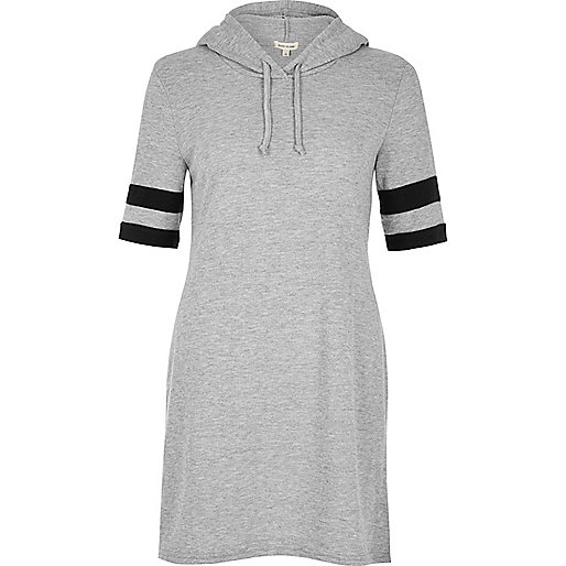 Grey knit hooded tunic