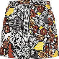 Yellow print high waisted shorts