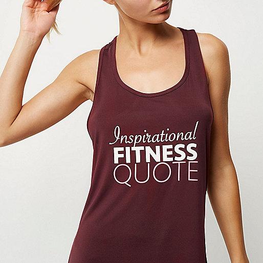 RI Active dark red slogan print gym tank