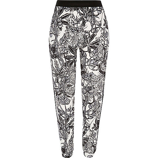 White jungle print joggers