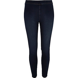 Dark blue denim look leggings