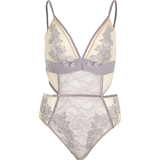 Grey lace appliqué body