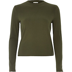Khaki ribbed turtleneck top