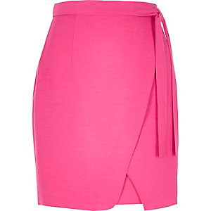 Pink wrap front mini skirt