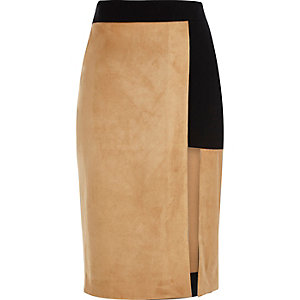 Beige faux suede pencil skirt