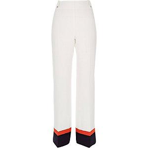 White colour block trousers