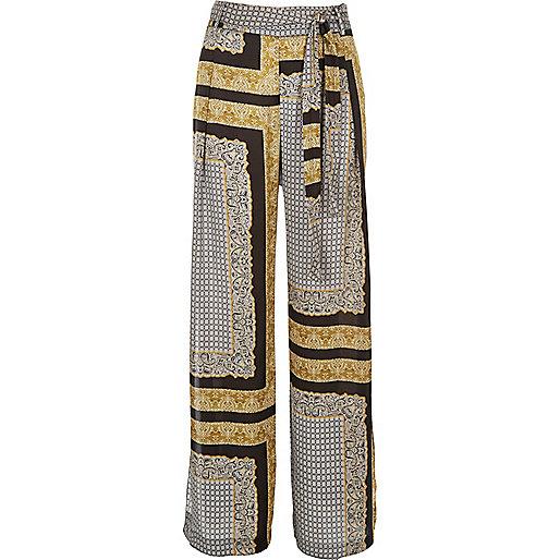 Black print side split pants