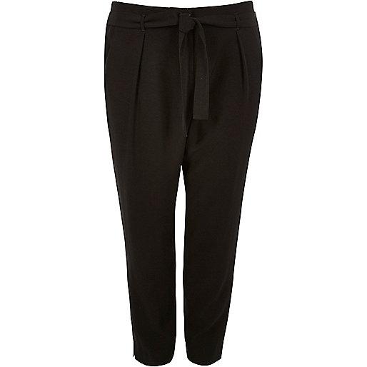 RI Plus black soft tie tapered pants