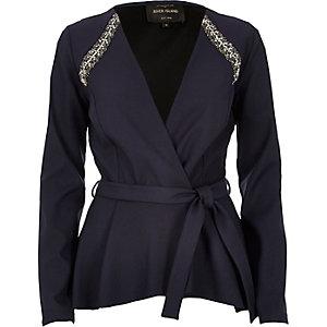 Navy embellished jacket