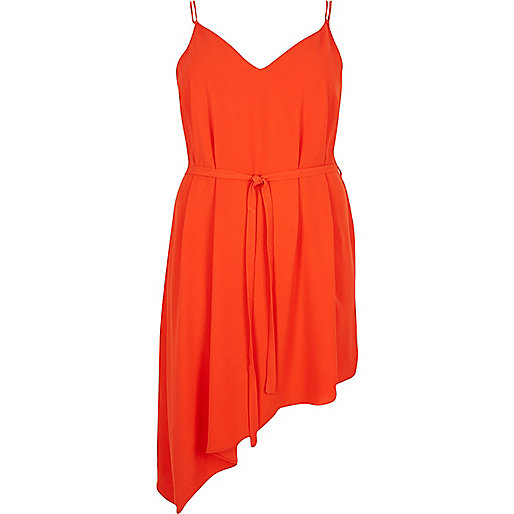 RI Plus red asymmetric slip dress