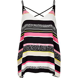 Pink candy stripe strappy cami