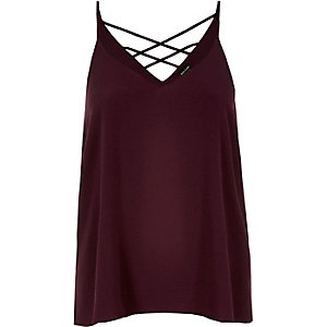 Dark red strappy cami