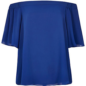 Blue bardot top
