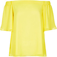 Yellow bardot top