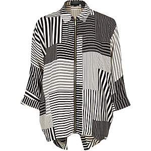 Black stripe print zip shirt