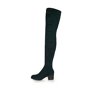 Dark green over-the-knee boots