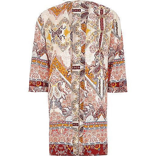 Kimono imprimé cachemire crème fendu dans le dos