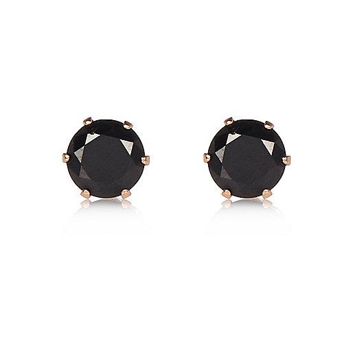 Black gem stud earrings
