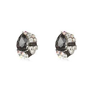Silver tone clustered gem stud earrings