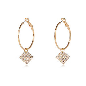 Gold tone diamanté drop hoop earrings